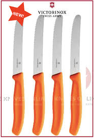 swiss kitchen knives 4 x victorinox steak knives knife pistol grip orange round tip