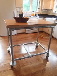 Kitchen Island Metal Pipe U0026 Butcher Block Rolling Kitchen Island Simplified Building
