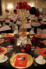 Exclusive Various Ideas Of Side Table Decoration by Red Black And Gold Table Decorations For 50th Birthday Party