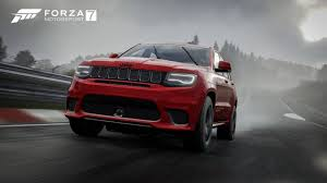 cars jeep grand cherokee jeep grand cherokee trackhawk joins forza 7 with doritos car pack