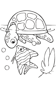 sea turtle coloring pages with fish 2 coloringstar