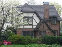stone coated steel roof on a tudor style home metal roofing