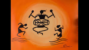 Warli Art Simple Designs Warli Acrylic Painting Orange Youtube