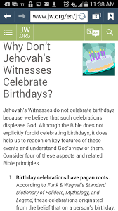 why do jehovah witnesses not celebrate talkinggames