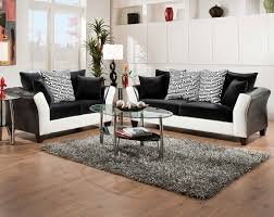 American Living Room Furniture Black White Couch Set Patterned Pillows Zig Zag Sofa