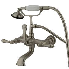 shop kingston brass vintage satin nickel 3 handle fixed wall mount bathtub faucet at lowes com shop kingston brass vintage satin nickel 3 handle fixed mixer