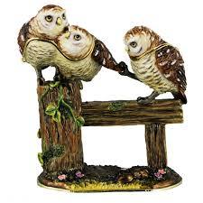 15551 by Owl Trinket Box Collectable Birds Owl Trio Trinket Box