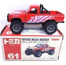 red jeep made in japan tomy tomica no 61 toyota hilux bigfoot 1 58 diecast