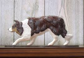 border collie figurine sign plaque display wall decoration