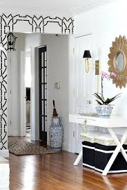 Black Foyer Table Gorgeous Foyer Design Features Black And White Stenciled Walls