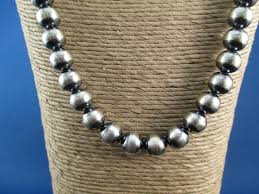 beaded silver necklace images Oxidized sterling silver bead necklace native american jewelry jpg
