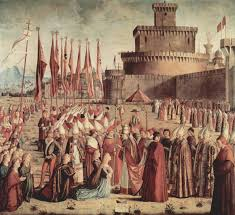 pilgrims thanksgiving history the pilgrims meet pope cyriac before the walls of rome 1493