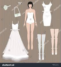 wedding dress up dress paper doll wedding dress stock illustration 330368741