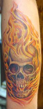 transcend gallery tattoos skull skull in flames