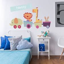 personalised animal train wall stickers by parkins interiors personalised animal train wall stickers