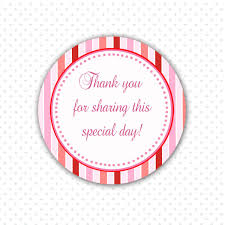 party favor labels pink stripes party thank you sticker baby girl shower party