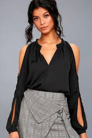 cold shoulder tops chic satin top black top cold shoulder top sleeve