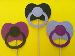 3 pacifiers on a sticks baby shower photo props new