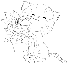 cat carrying vase flowers coloring pages christmas