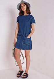 pocket detail denim dress stonewash blue missguided