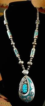 vintage turquoise silver necklace images Item 837t xlg vintage 70 39 s navajo turquoise w turquoise coral JPG