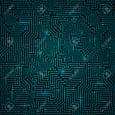 futuristic shining dark blue technology printed circuit board