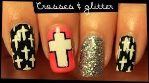 crosses u0026 glitter nail art youtube