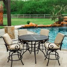 elysian 5 piece aluminum patio bar set w 52 inch round table