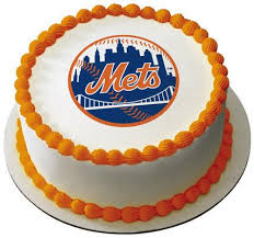 Sheet Cake Decoration Mlb New York Mets Logo Edible Icing Sheet Cake Decor Topper