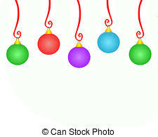 clipart of whimsical hanging christmas ornaments seven cute