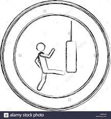 monochrome sketch of man kicking a punching bag in circular frame