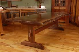 Dining Room Table Design Custom Made Live Edge Walnut Slab Trestle Dining Table Furniture