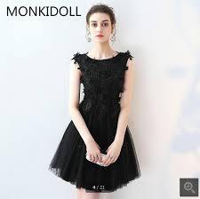 2017 lovely black lace short informal sheer back prom dress