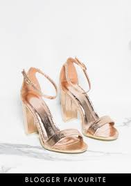 lottie rose gold cracked foil metallic barely there heels missy empire
