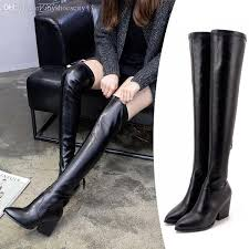 womens boots 2017 2017 milan fashion black suede elastic slim the knee boots