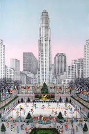 cuca romley colored etching rockefeller center new york