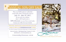 discount linen rental announcing our annual linen rental sale dates