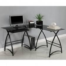 Metal Computer Desk Black Glass L Shaped Desk Foter