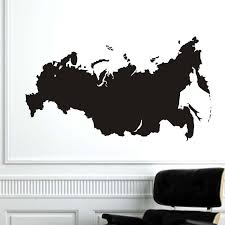 Rusia Peta Vinyl Removable Wall Sticker Self Adhesive Dinding Tahan
