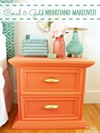 Turquoise And Coral Bedroom Tone On Tone Coral U0026 Gold Distressed Nightstand Makeover The