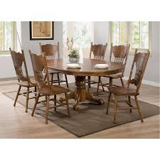 coaster furniture 104270 brooks round oval dining table in oak