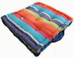 multi coloured stripe floor cushion 100 cotton 40 x 40 x 10