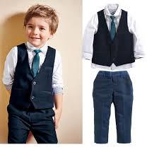 2016new korean baby boys dress suit vest shirt necktie set