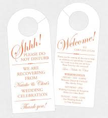 wedding reception itinerary set of 10 sided door hanger for wedding hotel welcome bag