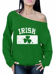 Green Day Flag Women U0027s St Patricks Day Irish Clover Vintage Flag Graphic Off