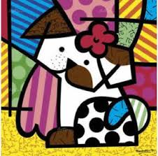romero britto romero britto valley dog lithograph on canvas subject pop art