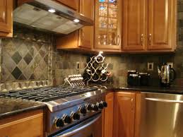small kitchen design and decoration using diagonal dark grey stone