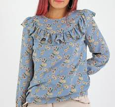 floral blouse womens glamorous blue ditsy floral print frill sleeve blouse