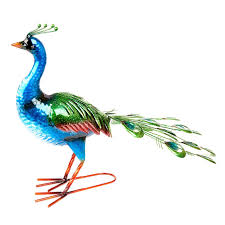peacock garden ornament outdoor decoration shiny painted metal