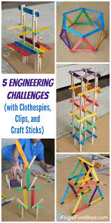 engineering challenges with clothespins binder clips and craft